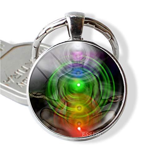 Inveroo Yoga Mandala Blume Glücksbringer Schlüsselbund Anhänger Sieben Chakra Glas Cabochon Reiki Spirituelle Schlüsselbund Autoschlüsselanhänger