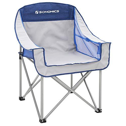 SONGMICS Silla de Camping Plegable, con Asiento Amplio y Confortable, Resistente, Max. Capacidad de Carga 250 Kg, Silla para Exterior, Gris y Azul GCB05BG