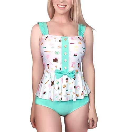 LittleForBig bescheidene Kawaii eine Stück Badebekleidung Badeanzug – Vintage Süßigkeiten XXXL