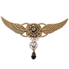 Vintage Medieval Victorian Breastpin Gears,Wing,Bead Charm Pin,Brooch Cosplay, Larp Props Material: Gears Alloy