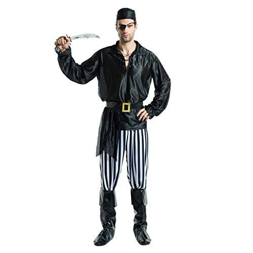 EraSpooky Hombre Disfraz de Pirata Disfraces del Caribe Cosplay Fiesta de Halloween Traje Divertido para Adulto