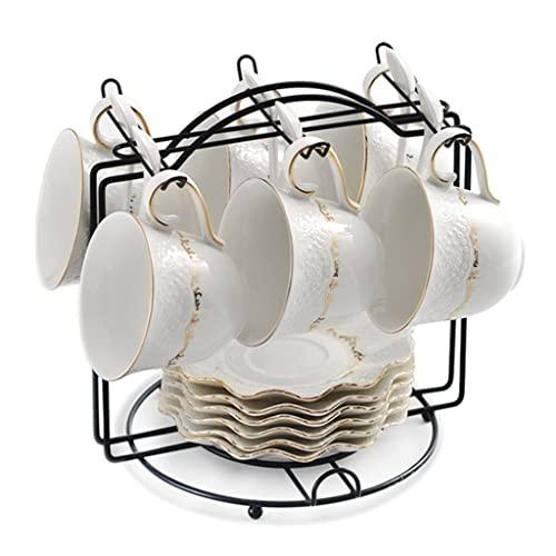 Tazas termicas Juego De 6 Tazas De Té Y Platillos De Porcelana Tazas De Café De 200 Ml Con Borde Dorado Puede Almacenar Tazas Gran Regalo Para Cumpleaños, Navidad (Color : Blanco, Size : 21cm*21cm)