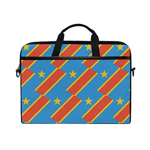 Kongo Kinshasa Flagge 14 Zoll Laptop Schultertasche Messenger Bag Hülle Sleeve Aktentasche mit Handgriff für Damen Herren