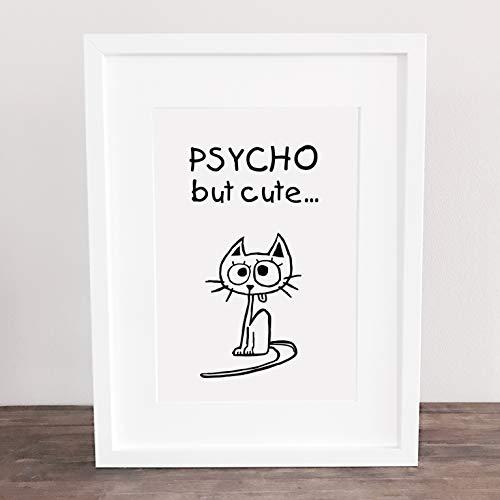 Poster, Wanddeko, Kunstdruck, Bild, Cat, Katze, Kitty, cute, sweet, Psycho