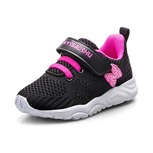 Zapatos Bebe Niña Deportivas Niña Velcro Chicas Tenis Bambas Zapatillas de Correr Unisex Calzado Gimnasio Caminar Diariamente Zapatos Atléticos Interior y Exterior Lindo Moda Negro Talla 24