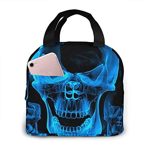 Blue Burnning Flame Skeleton Skull Head Lunch Bag Cooler Bag Adult Tote Bag Insulated Lunch Bag Water-Resistant Thermal Lunch Bag Soft Liner Lunch Bags for Picnic/Boating/Beach/Fishing/Work