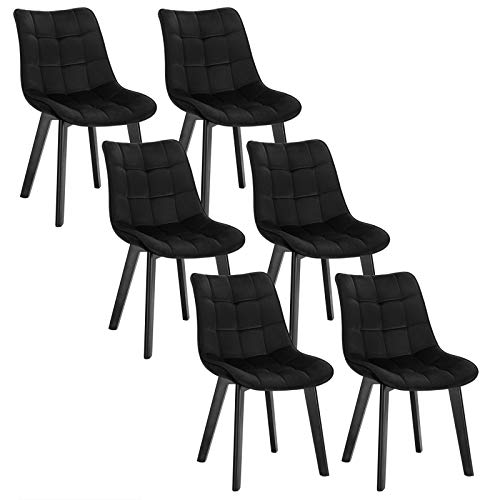 EUGAD 6 X Chaises Salon à Manger Pieds en Bois et Surface en Velours,Chaises de Salle à Manger Noir Polyvalent,0656BY-6