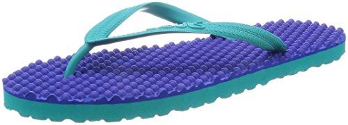 SOULS Zehentrenner Unisex Australian Thongs Original Massage Noppen Sohle 'Monaco Blue 1007' Lifestyle Sandale Wellness Massage Badeschuhe Badelatschen Strandschuhe für Damen Herren, Größe:44/45