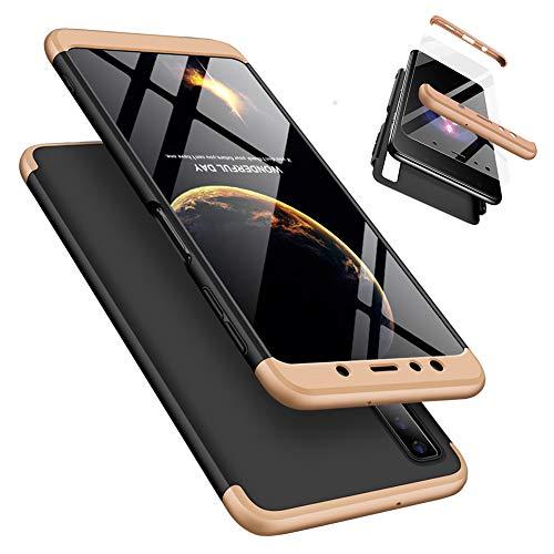 Laixin 3 in 1 Handyhülle für Samsung Galaxy A7 2018 A750 Hülle + Panzerglas, Ultra Dünn PC Plastik Anti-Kratzen Schutzhülle Schutz Hülle Cover mit Bildschirmschutzfolie, Gold/Schwarz