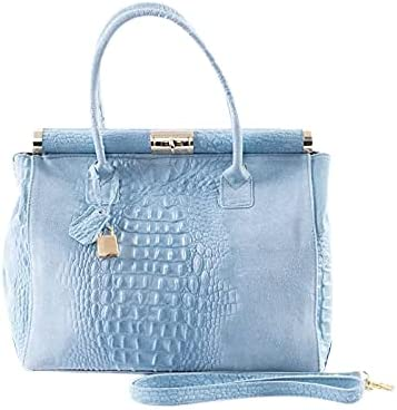 Italian Crocodile & Suede Sky Blue Handbag and Shoulder Bag