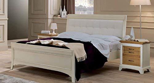 Dafne Italian Design Cama de matrimonio color marfil, cabecero acolchado piel blanca, vintage, 120 x 220 x 194 – para somier 180 x 200, 60 kg cabecero y pie madera maciza de nogal toulipier