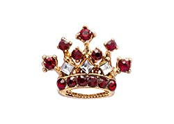 Gold Crown With Maroon Stone Detailing Lapel Pin Brooch