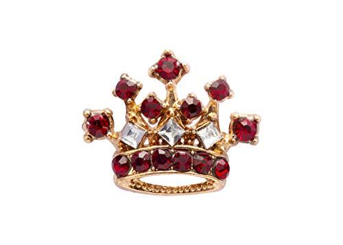 Knighthood Corona in Oro con Dettagli in Pietra Marrone Rossiccio Spilla Distintivo Cappotto Abito da Regalo Camicia da Festa Collare Accessori Spilla per Uomo