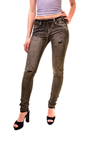 One Teaspoon Authentic Hoodlums da Donna Jeans Black Hart Taglia 27