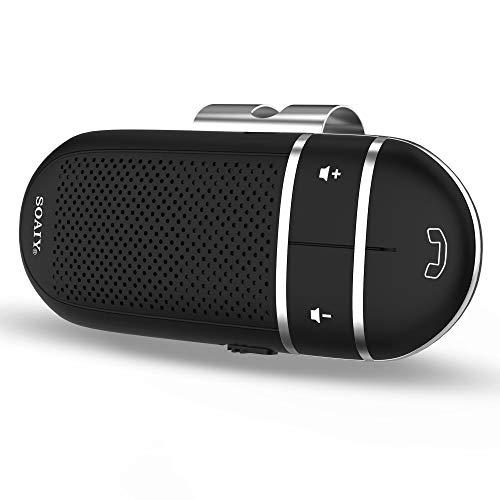 [Nueva versión] SOAIY Manos Libres Bluetooth 4.1 Coche Kit, Manos Libres portatil GPS Coche para parasoles, Apagado automático y Activa la música Disponible con Control por Voz (Negro S-31)
