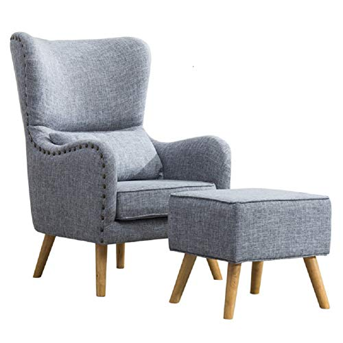 WarmieHomy Linen Fabric Armchair High Wing Back Tub Chair Lounge Recliner Occasional Accent Chair with Footstool for Bedroom Living Room Office Reception Conservatory (Grey)
