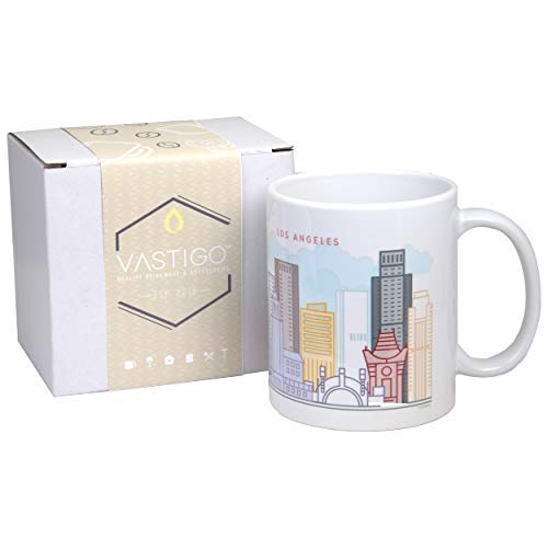 Vastigo 11 Oz. Ceramic Mug with Top Cities in America | Full-Color Sublimated Design | Comes in Gift Box (Los Angeles)