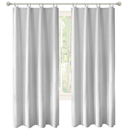 DriftAway Thermal Insulated 100 Percent Darkening Blackout Curtain Liner 2 Panels Each Liner Size 50 Inch by 92 Inch Rings Included Off White Panel