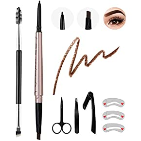 8Pcs Eyebrow Pencil Dark Brown,Waterproof Eyebrow Pencil Set,Eyebrow Definer Smudge-Proof,with Eyebrow Stencil Tweezer Razor Set