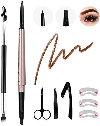 8Pcs Eyebrow Pencil Dark Brown,Waterproof Eyebrow Pencil Set,Eyebrow Definer Smudge-Proof,with Eyebrow Brush Stencil Tweezer Razor Set