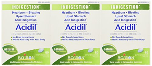 Boiron Acidil, 60 Tablets (Pack of 3), Homeopathic Medicine for Indigestion, 60 Tablets (Pack of 3)