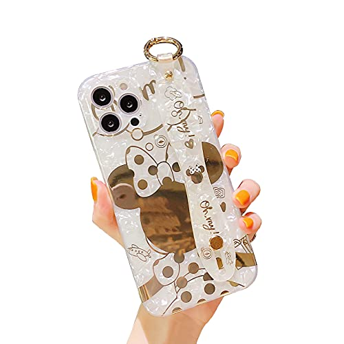 Filaco Cute Case for iPhone 13 Pro 6.1', Cartoon Golden Minnie Sparkle Bling Cover, Wrist Strap Kickstand Soft TPU Shockproof Protective Design Suitable for Women & Girls
