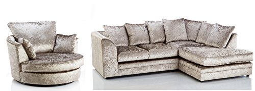 Candice Crushed Velvet 3 Seater Fabric Corner Sofa Mink Small Chaise (Right Hand Facing + Swivel Chair)