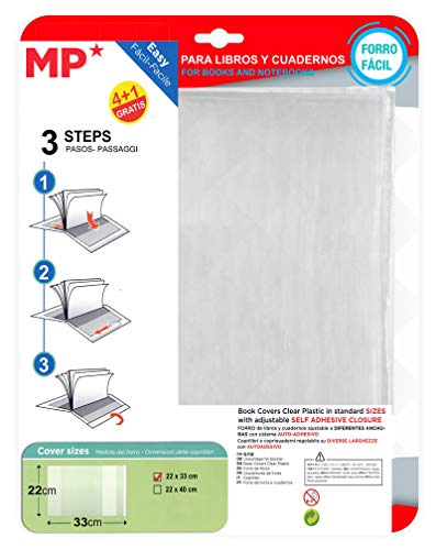 MP Pack de 5 Forros para Libros (22 X 33 CM (A5))