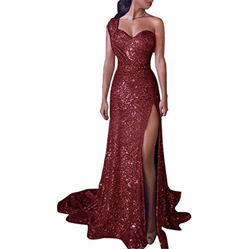 ZLDDE Damen Elegant Abendkleid Frauen Pailletten Schulterfrei Split Maxikleid Ballkleid Brautjungfer Langes Kleid
