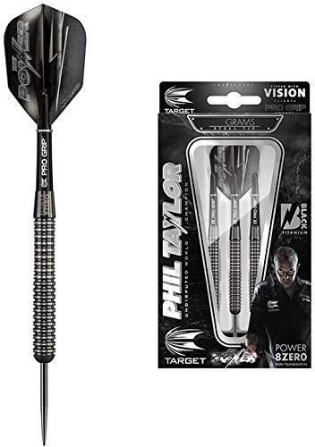 Target Darts Phil Taylor Power 8Zero Schwarzer Titan Steel Tip Dartpfeile (24gr), 24g
