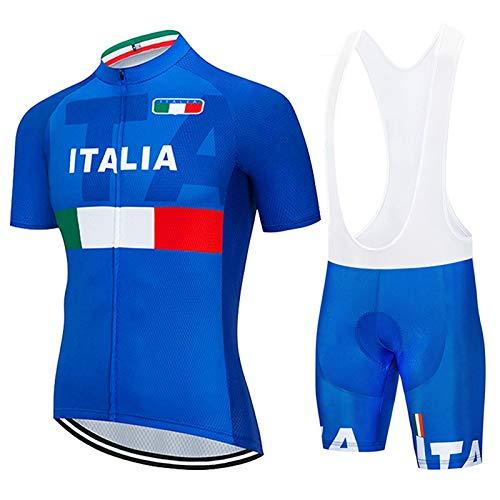FMHAO Abbigliamento Ciclismo Uomo Set MTB Team Maglia Manica Corte Traspirante Quick Dry e Pantaloncini Imbottiti in Gel Abbigliamento Sportivo da Ciclismo Set