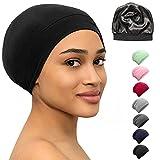 Satin Bonnet Lined Sleeping Beanie Hat Bamboo Headwear Frizzy Natural Hair Nurse Cap for Women and Men (Black)