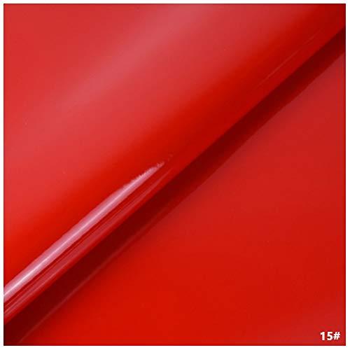 Tela de Cuero Sintético de PVC, Tapicería de Cuero Sintético para Decoración de Interiores de Automóviles Bolsa de Renovación de Sofás Regalos - Material de Charol (Rojo)(Size:1.38x3m)