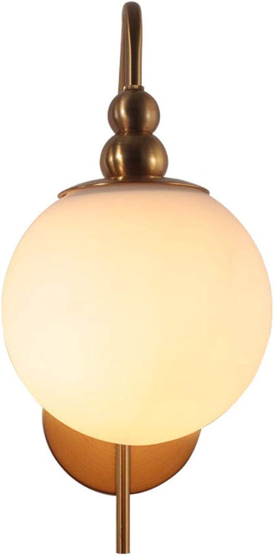ZXW Wandleuchte- Eisen Glas Wand Lampe Wohnzimmer Schlafzimmer Nacht Gang Korridor dekorative Lichter (Farbe   Messing-26x34cm)