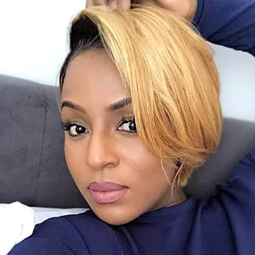 Singlebest Lace Frontal Pixie Cut Court Wigs Brésiliennes Perruques De Cheveux Humains Avec Une Partie Gratuite Côté Frange Pour Les Femmes Noires Coupe Pixie Lace T Part Wig Cap (ot27)