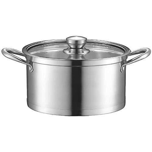 YFGQBCP ollas Cocina Olla 28cm, Doble asa de Acero Inoxidable con Cristal Pot Utensilios de Cocina Tapa, de la Olla con Calor, a Prueba de Easy Clean, Compatible con Todo Tipo de cocinas