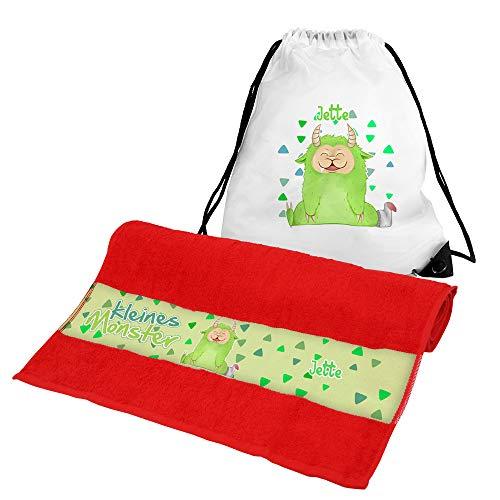Eurofoto Handtuch + Turnbeutel Set mit Namen Jette und Motiv mit kleinem grünen Monster für Mädchen | Handtuch und Turnbeutel Bedruckt |