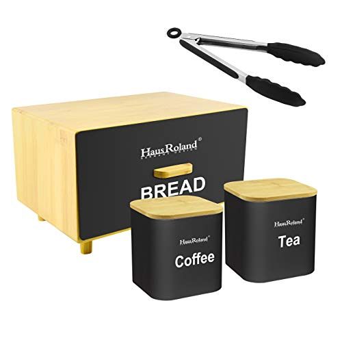 HausRoland Bread Box for Kitchen Counter Drawer Bread Bin Storage Container For Loaves Pastries Dry Food (Black, GS-03061A-407)