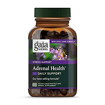 Gaia Herbs Adrenal Health Daily Support Vegan Liquid Phyto Capsules - Stress Relief and Adrenal Fatigue Supplement Ashwagandha Holy Basil Rhodiola 120-Count  Pack of 1