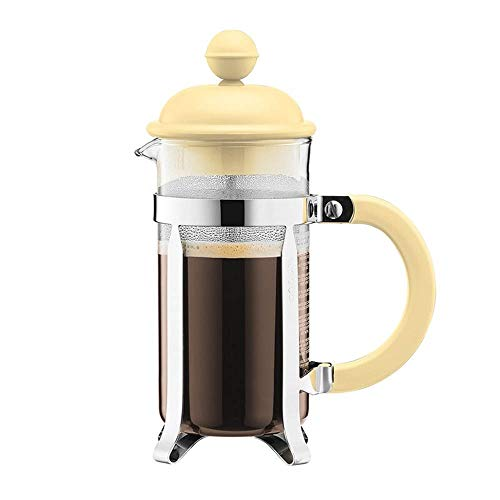 SongMyao Kaffeepressen Haushalts-Hand gebrühter Kaffee Französisch Press Pot Tee-Maschine Glas Handpresse Filter Kaffeekanne Filterpressekanne (Color : Yellow, Size : 350ml)