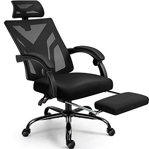 Office Chair, Cadcah Ergonomic Home Office Desk Chair Mesh Office Chair with Footrest Adjustable Headrest Swivel Computer Chair Lumbar Support High Back Chair for Adults Men Women