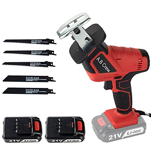 A.B Crew Rechargeable Cordless Reciprocating Saw w/2 Batteries 21-Volt Max 1.5Ah Portable Compact kit w/Blades Tool Case for Outdoor Pruning Wood Plastic Metal Bone