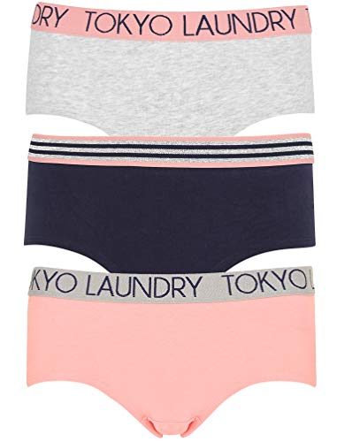Tokyo Laundry Damen 3er-Pack Set bedruckte kurze Slips Stretch Fit Unterwäsche Gr. S, Sabrina