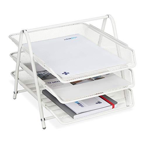 Relaxdays Dokumentenablage Metall, 3 Fächer, Gitter Design, Büro, für A4, Briefablage, HBT: 26,5 x 29,5 x 35,5 cm,weiß, 1 Stück