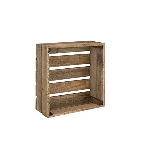Caja de Madera Envejecida Cuadrada Sam, Caja Mediana, Madera, Marrón, 39x39x15.5cm. Incluye Imán Personalizable de Regalo.