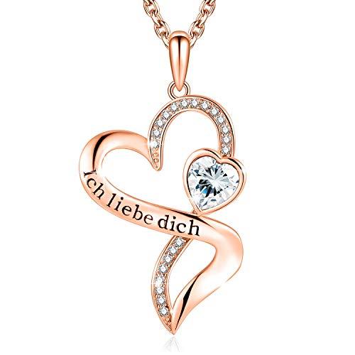 Herzkette mit Gravur'Ich Liebe Dich' Kette Damen Silber 925 Zirconia von Swarovski Halsketten für frauen Schmuck Damen Geschenke Für Frauen Frauen Geschenke Zum Geburtstag (Rosegold+White)