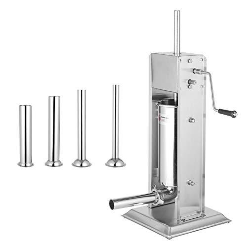 Embutidora de salchichas, 5L, dos tipos, ajuste de velocidad, acero inoxidable, embutidora de salchichas manual vertical, máquina para hacer salchichas