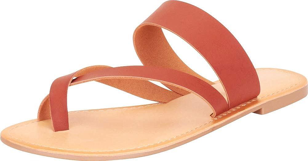 Cambridge Select Women's Slip-On Thong Toe Crisscross Strappy Flat Slide Sandal