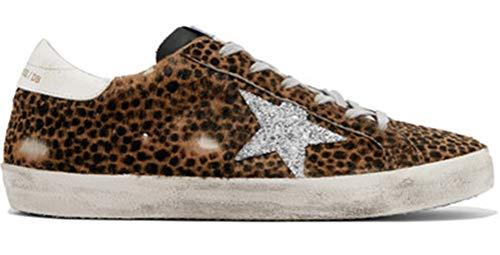 VCEGGDB Zapatillas de deporte de mujer de cuero con estampado de leopardo casual zapatos de diapos, color, talla 40.5 EU