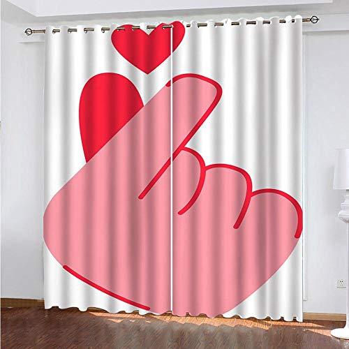 LUOWAN Dormitorio Moderno Ventana Gesto de corazón - 140x160cm Cortinas Opacas Decoracion de Ventanas Termicas Aisantes con Trabillas